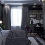 Черные шторы в спальне
