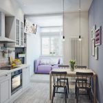 Кухня объединенная с балконом обеденный диван