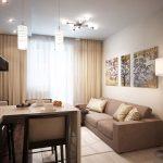 Дизайн гостиной кухни 18 кв. м. Фото проекта