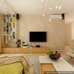 Дизайн комнаты гостиной 20 кв м в квартире. Фото проекта