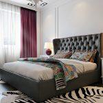 Дизайн спальни 12 метров серая кровать с изголовьем