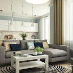 Кухня гостиная зонирование диваном