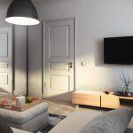 Дизайн спальни-гостиной в одной комнате. Зонирование стеллажом