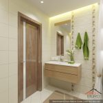Дизайн ванной 4 кв. метра с душевой кабиной и стиральной машиной. Эко-стиль