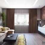 Интерьер гостиной 18 кв. м. с кирпичной стеной
