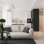 Гостиная, совмещенная с кухней в однокомнатной квартире: современная идея