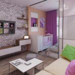Дизайн гостиной и детской 18 кв. м в одной комнате