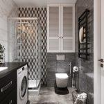 Интерьер современной серой ванной комнаты 4 метра