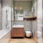 плитка печворк и зеленая в ванной комнате