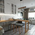 Кухня гостиная с барной стойкой