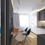 Кухня и гостиная, разделенные легкой перегородкой: фото с яркими акцентами