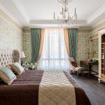 Проект спальни в классическом стиле с телевизором