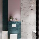 розовая стена в ванной