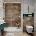 Дизайн ванной с плиткой под дерево