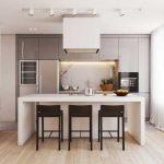 Прямоугольная кухня-гостиная 20 кв. м. Фото проекта