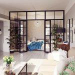 Разделение спальни и гостиной перегородкой или раздвижной дверью