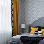 Серая спальня 9 кв. м. с желтыми шторами