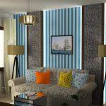 Интерьер современной гостиной в полоску