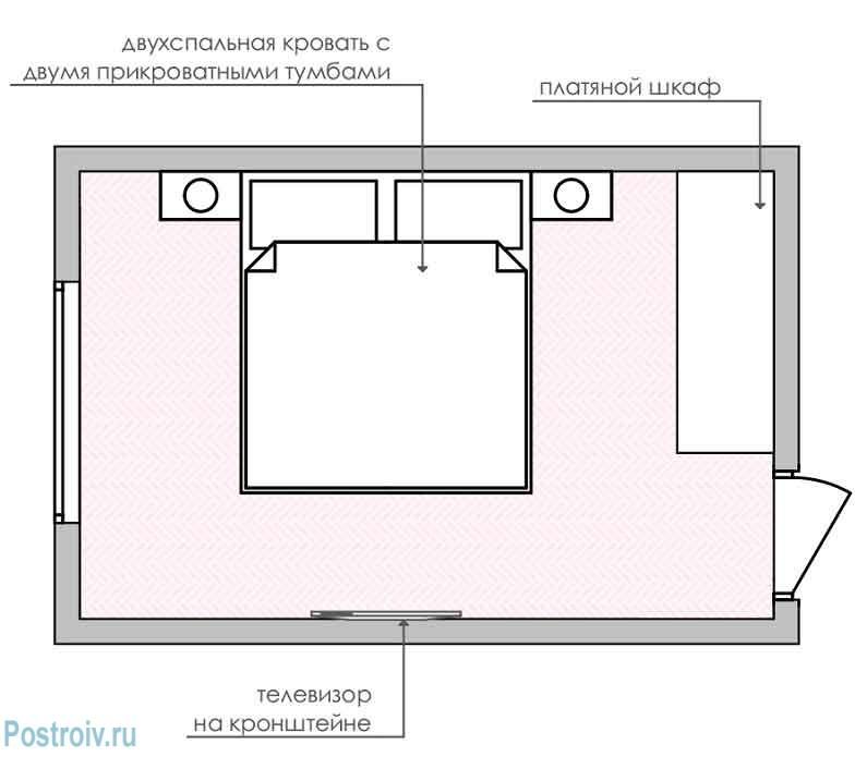 спальня 12 кв. м. планировка номер 1