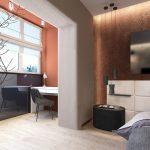Интерьер современной спальни, объединенной с лоджией