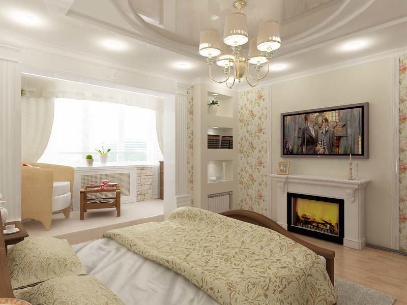 Отделка пола, стен и потолка в спальне с балконом