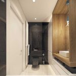 Строгий современный интерьер ванной 4 кв. м
