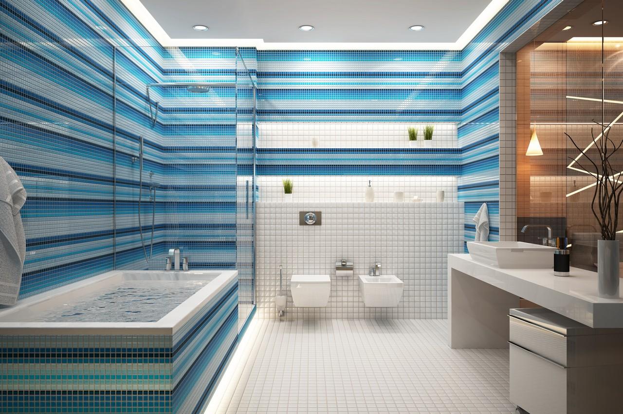 Отделка ванной в полоску
